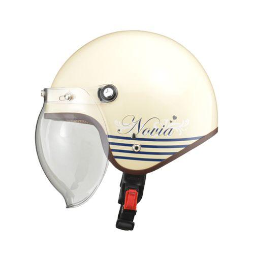 【送料無料】リード工業 NOVIA バブルシールド付スモールロージェットヘルメット レターアイボリー NOVIA-LTER/IV 1個