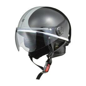 取寄 ハーフタイプ O-ONES O-ONEシールド付ハーフヘルメット ブラック/シルバー リード工業(LEAD) ブラック/シルバー 1個
