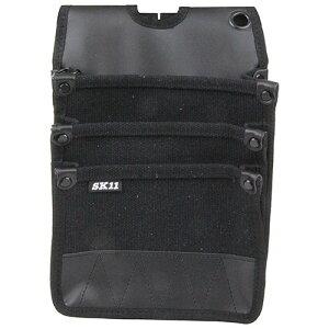 取寄 SHN-3D BK 帆布腰袋 SHN-3D BK 3段ポケット ブラック SK11 ブラック 1個