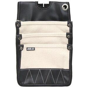 取寄 SHN-3D WH 帆布腰袋 SHN-3D WH 3段ポケット ホワイト SK11 ホワイト 1個