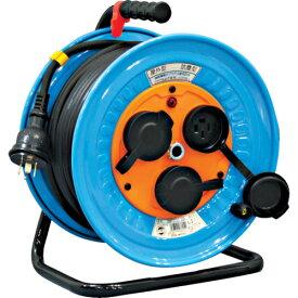 取寄 DNW-E330F-20A 電工ドラム 防雨防塵型三相200V 3.5sq電線アース付 30m 日動工業 側板色:水色/電線色:黒 1台