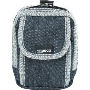 取寄 TDC-H102 デニム携帯電話用ケース 2ポケット ブラック TRUSCO(トラスコ) ブラック 1個