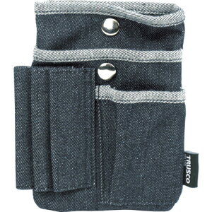 取寄 ベルト通し縫い付けタイプ TDC-F302 デニムフラットケース マルチポケット ブラック TRUSCO(トラスコ) ブラック 1個