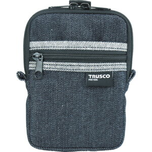 取寄 TDC-K102 デニムコンパクトケース 2ポケット ブラック TRUSCO(トラスコ) ブラック 1個