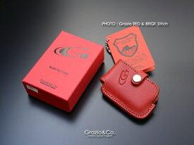 汎用 | グッズ キーホルダー【グラージオ】Grazio&Co.レザーキーケース by 栃木レザー TYPE-D 4 (Grazio RED& BEIGE Stitch)