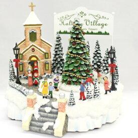 【取寄品】 LED付オルゴール クリスマスタウン 【 デコレーション オブジェ 置物 雑貨 装飾 プレゼント パーティーグッズ クリスマスパーティー クリスマス飾り 】