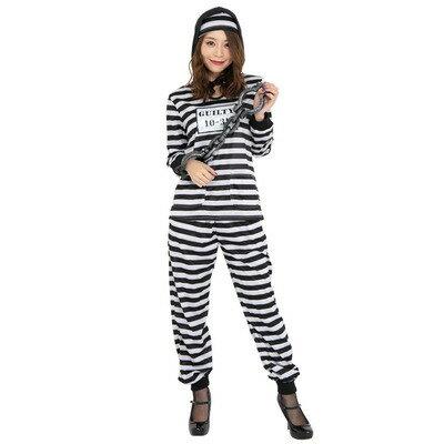 【あす楽12時まで】 CLUB QUEEN Hood Prisoner(フードプリズナー) 【 コスプレ 衣装 ハロウィン 仮装 コスチューム 女性 囚人服 女性用 レディース パーティーグッズ 大人用 】