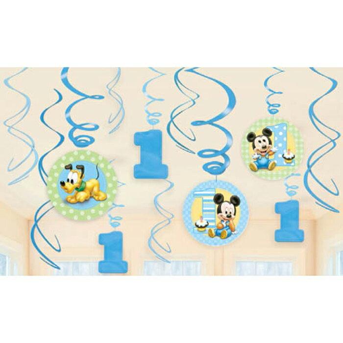 スワールデコ ディズニーミッキー1stバースデー【PG679432】 誕生日 バースデー パーティー デコレーション 装飾 ベビーミッキー ベビーミニー ハンギングスワール 壁飾り 1歳誕生日