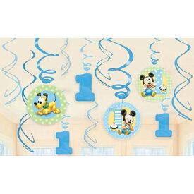 1歳 誕生日 飾り付け スワールデコ ディズニーミッキー1stバースデー【PG679432】 誕生日 バースデー パーティー デコレーション 装飾 ベビーミッキー ベビーミニー ハンギングスワール 壁飾り 1歳誕生日
