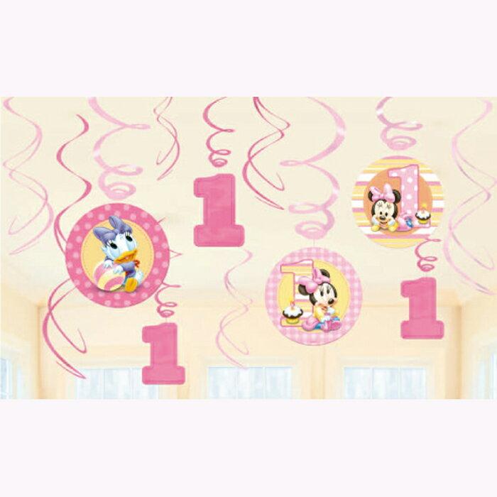 スワールデコ ディズニーミニー1stバースデー 誕生日 バースデー パーティー デコレーション 装飾 ベビーミッキー ベビーミニー ハンギングスワール 壁飾り 1歳誕生日 【PG679433】