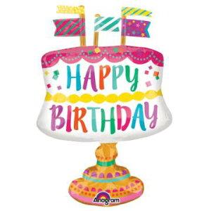 バルーン 誕生日!あす楽14時★[ガス入りバルーン][誕生日バルーン]ファンシーケーキウィズフラッグス※バルーンギフト誕生日 バルーン 電報 バルーン電報 誕生日パーティーグッズ 誕生