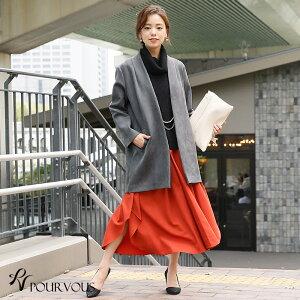 93cc40da59403 コートアウターノーカラーノーカラーコートコーディガンミディアム丈服服装ミセス大きいサイズ