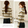 In 40 generations adult silhouette fashion maternity turtle cut-and-sew turtleneck high neck pullover sleeve beauty eyes stripe casual clothes mom in lady's big size knit tops horizontal stripe thin long sleeves fall and winter in autumn in spring for sw