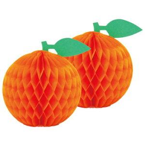 オレンジ 日本製 2個入 店舗装飾 フルーツ 夏の飾り くだもの ハニカム製品 お店のかざり プール ハワイアン トロピカル POP 【4点までネコポスOK】