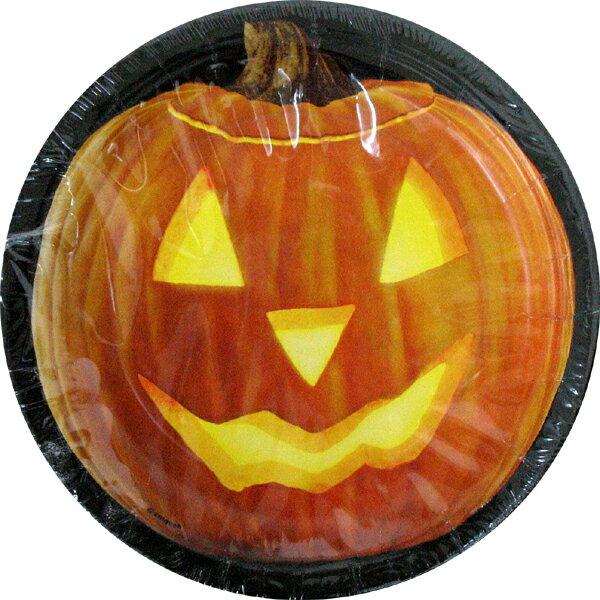 【ハロウィン・パーティー】7インチ紙皿 パンプキングロウ(アメリカ製)【2点までネコポス可 あす楽】