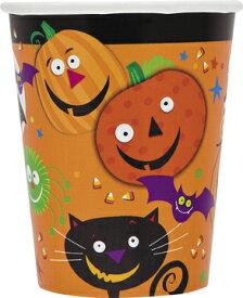 ハロウィン 紙コップ スプーキースマイル 6個入り 9オンス 266cc アメリカ製 パンプキン オレンジ 黒猫 ガイコツ かわいい 【あす楽】