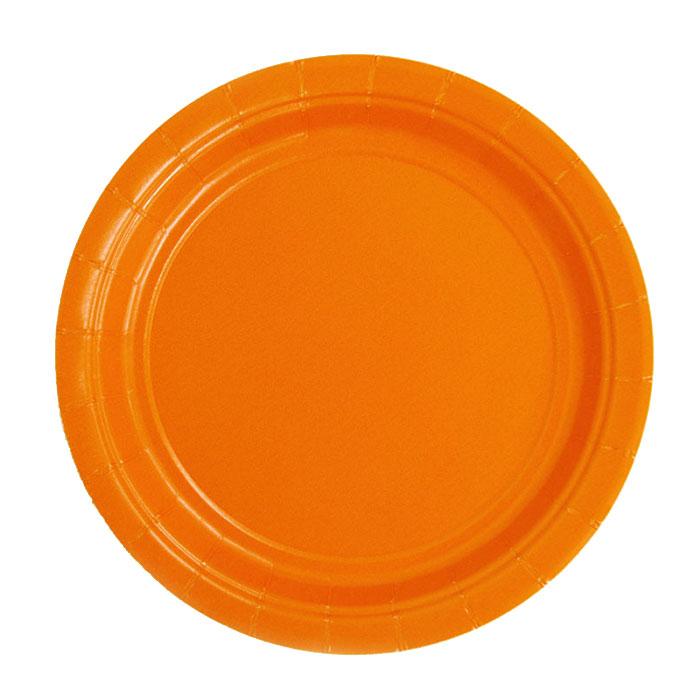 ハロウィン 紙皿 オレンジ 17.8cm(7インチ) アメリカ製 パーティーグッズ 食事会 使い捨て食器【2点までネコポス可 】