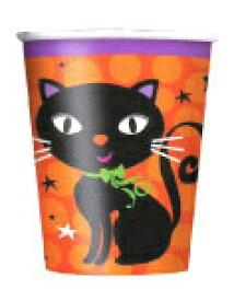 ハロウィン 紙コップ ブラックキャット 6個入り 9オンス アメリカ製 266cc 黒猫 オレンジ かわいい 【あす楽】