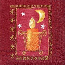 クリスマス 紙ナプキン キャンドルレッド 8枚入り 33cm ドイツ製 ランチョンナプキン 飾り付け 撮影小物 赤色 【2点までネコポスOK あす楽】