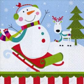 クリスマス 紙ナプキン ジョイフルスノーマン 8枚入り 25cm アメリカ製 ベバレジナプキン 飾り付け 撮影小物 雪だるま イベント 店舗装飾 【4点までネコポスOK あす楽】