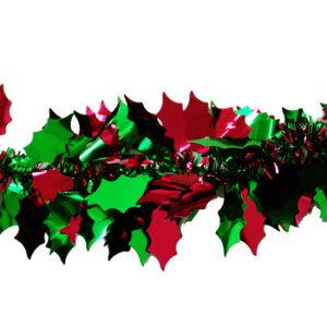 【クリスマス飾りつけ】リーフティンセルガーランド全2色2mヒイラギグリーンレッド【パーティーグッズ】