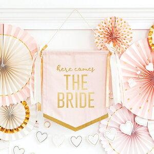 """【宅配便のみ】ウェディング タペストリー ピンク&ゴールド """" here comes THE BRIDE """""""