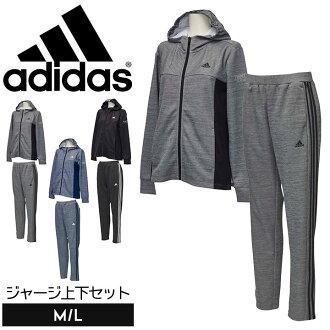 아디다스쟈지 상하 세트 레이디스[adidas]저지 상하 세트 멋쟁이 트레이닝 웨어 스포츠웨어 상하 셋업 마라톤 피트니스 런닝 실내복흡한속건 운동회 마마[어른용]