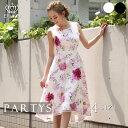 [交換無料][ 送料無料 ][ あす楽 ][ エルケイ ] ピンク花柄 ノースリーブ Aライン フレア ミディアムドレス ワンピー…