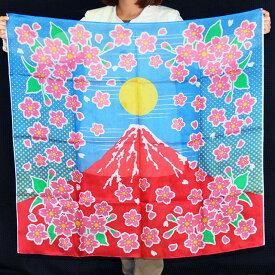 ◆マジック・手品◆デザインシルク「赤富士桜」(特上品 Lサイズ)約90cm角◆S8533