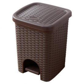 ペダル式のゴミ箱ふた付き ラタン柄 サニタリーボックス【割引不可・返品キャンセル不可】