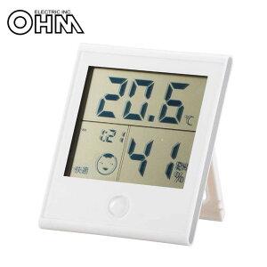 オーム電機 OHM 快適表示・時計付き デジタル温湿度計 ホワイト TEM-200-W【割引不可・返品キャンセル不可】