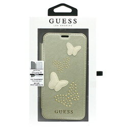 GUESS iPhoneX専用 蝶ワッペン付手帳型ケース STUDS AND SPARKLES - PU LEATHER BOOKTYPE CASE WITH BUTTERFLIES - BEIGE iPhone X GUFLBKPXPBUBE