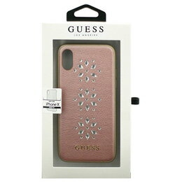 GUESS iPhoneX専用 スタッズ付きハードケース STUDS AND SPARKLES - PU LEATHER HARD CASE WITH SNOW FLAKES - PINK iPhone X GUHCPXSTUPI