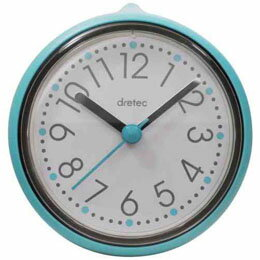 DRETEC おふろクロック スパタイム かわいいフォルムの防滴時計 C-110BL【取り寄せ品キャンセル返品不可、割引不可】