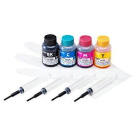 サンワサプライ 詰め替えインク(ブラザー LC12BK・C・M・Y用4色セット) INK-LC12BS60S【取り寄せ品キャンセル返品不可、割引不可】