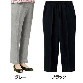 C라인옷자락 패스너 팬츠(부인) 39806 32・블랙・L