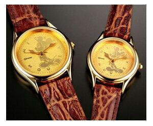 『送料無料』 『ミッキーマウス時計24金仕上げ文字盤腕時計』 プレミアムウォッチ 腕時計 メンズ レディース 牛革 大人のミッキー