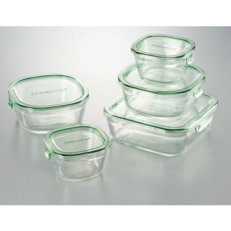 iwakiパック&レンジ角型5点セット 耐熱ガラス ipa-2201-072C-76【割引不可・取り寄せ品キャンセル返品不可】