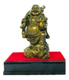 緑檀一杢彫り 輝宝虎眼布袋様 20cm【返品キャンセル不可品】仏像 仏具 グッズ 工芸美術品