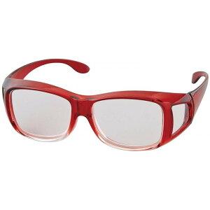 【大感謝価格】高倍率 メガネタイプ拡大鏡 1.8倍 ワインレッド/クリア