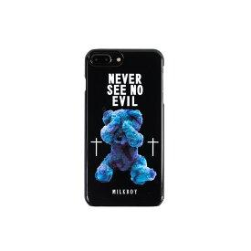 【ネコポスのみ】【大感謝価格 】AB-0883-IP7P iPhone8Plus/7Plus/6sPlus/6Plus対応 背面ケース MILKBOY ミルクボーイ×Gizmobies SEE NO EVILBEARS BK