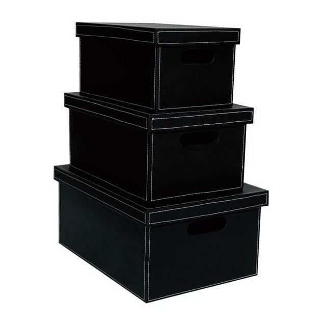 【大感謝価格】フェイクレザー ボックスBL L/M/S 3個セット L40019/M40020/S40021