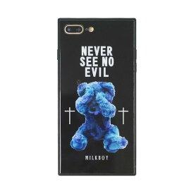 【大感謝価格 】BJ-0001-IP7P-BLAK iPhone8Plus/7Plus対応 iPhoneケース MILKBOY ミルクボーイ スクエア型 ガラスケース Gizmobies ギズモビーズ SEE NO EVILBEARS BK
