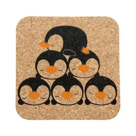 コースター コルク コルクコースター 北欧 【 スクエアコルクコースター2色 ペンギン 】 メール便 カフェ コーヒー レストラン 食器 グラス 開店祝い 北欧風 おしゃれ かわいい ギフト プレゼント 日本製 クリスマス プレゼント
