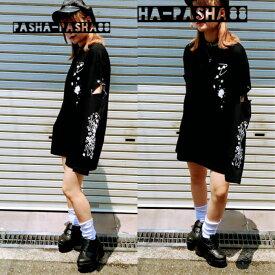 ロングTシャツ pasha-pasha88 パシャパシャ ロンT 長袖Tシャツ 服 大きいサイズ メンヘラ やみかわ 病み かわ いい バンギャ V系 ヴィジュアル系 原宿ファッション 原宿系 レディース ファッション サブカル ファッション 安全ピン イラスト おしゃれ 個性的 個性 派