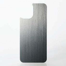 【即納】エレコム iPhone 12 mini/背面用ガラスフィルム/アルミ調/ヘアラインデザイン/シルバー