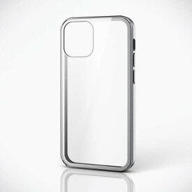 【即納】エレコム iPhone 12 mini/ハイブリッドケース/360度保護/ガラス/メタリック/シルバー