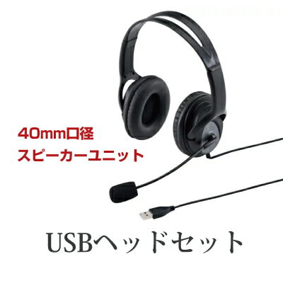 サンワサプライ USBヘッドセット ブラック [MM-HSUSB17BK] || USB スカイプ Skype ヘッドフォン USBヘッドセット ヘッドホン SANWASUPPLY サンワ ヘッドホン 有線 USBケーブル マイク フレキシブル フレキシブルアーム 大型 大口径 オフィス用品
