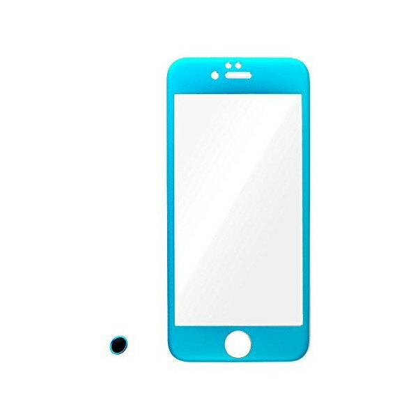 M's select. FULL BRA PANEL iPhone6,6S専用 ラウンド加工 アルミ 9H ガラス 複合パネル ブルー 指紋認証対応ボタンシール付属 MS-I6FBP-BL 送料無料