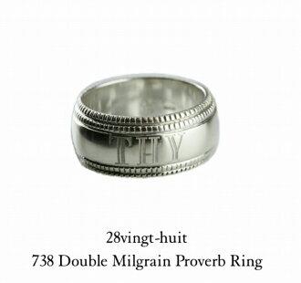 silver925 daburumirugureimpurovabu格言ringuvanyuittoshiruba 925 738 Double Milgrain Proverb Ring 28vingt-huit硬幣人男女兩用mens